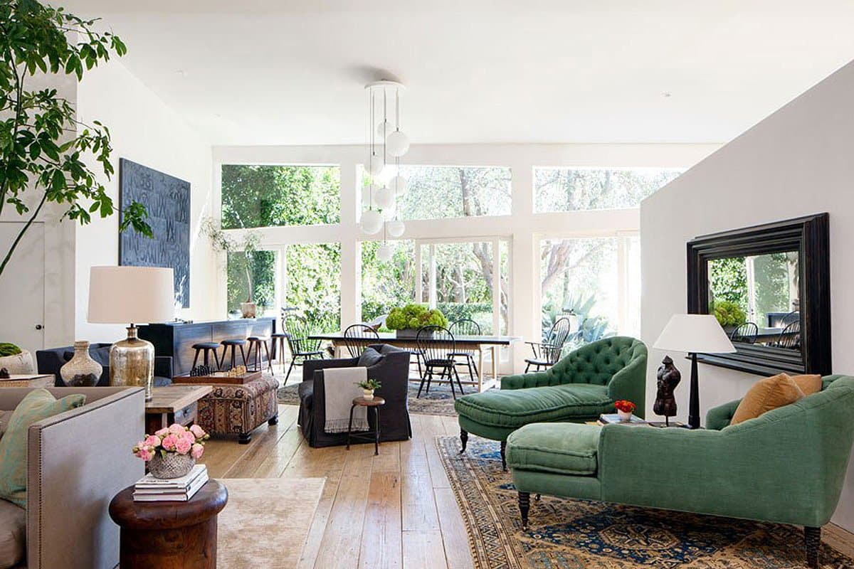 The living room of Patrick Dempsey's Malibu family house with revamped interiors by Estee Stanley of Hancock Design.