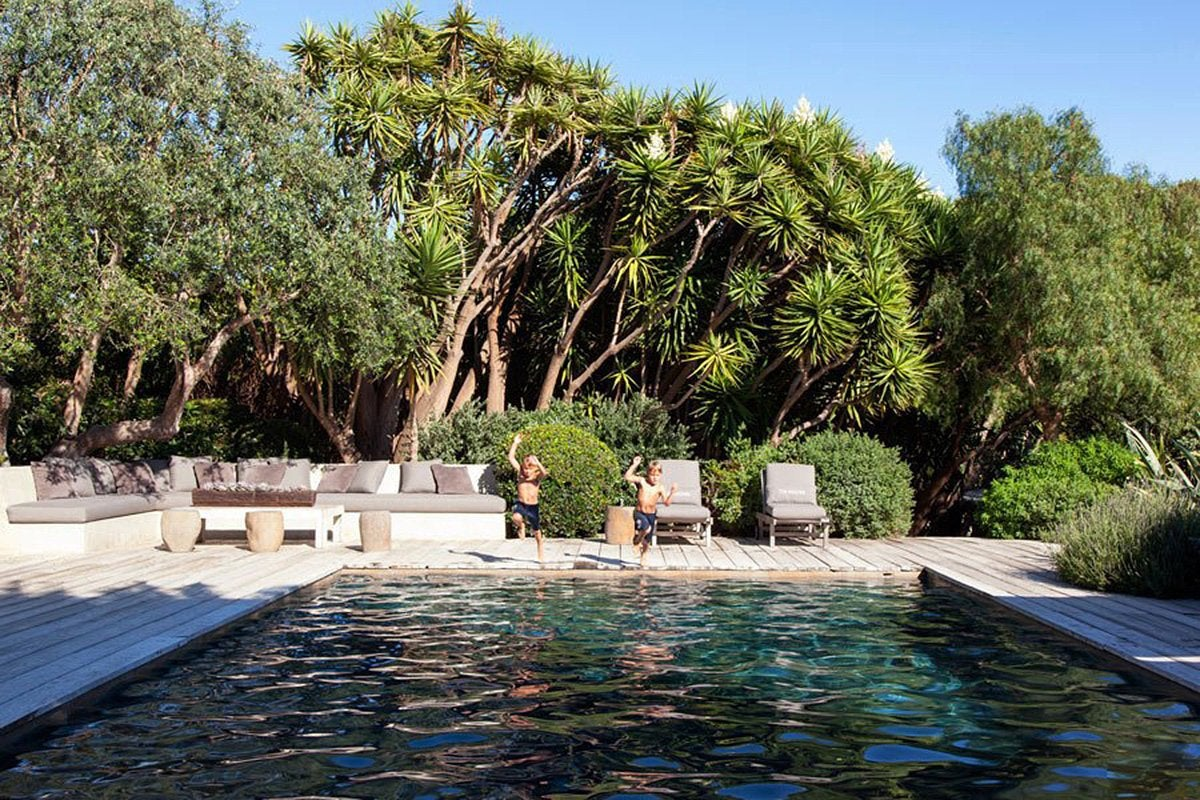 The pool at Patrick Dempsey's Malibu family house with revamped interiors by Estee Stanley of Hancock Design.