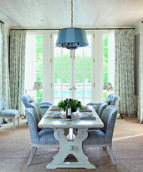 Designer Markham Roberts Introduced Elements Of Elegance And Wonderment To A Nashville Homes Dining Room With Floral Toile Curtains