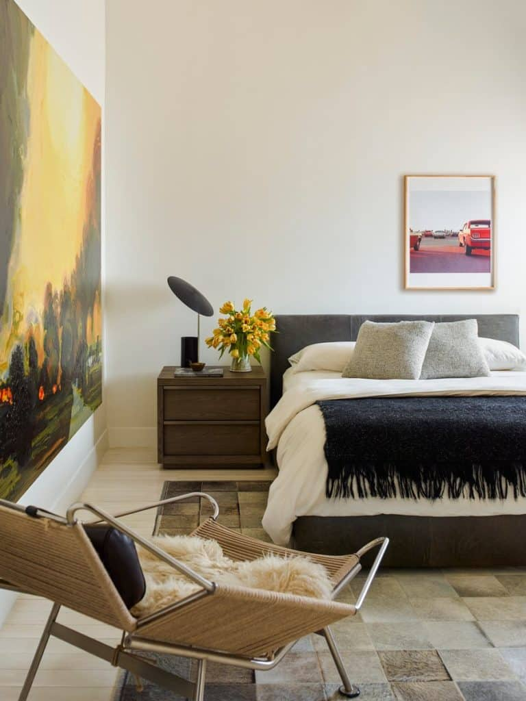 luxury bedroom furniture purple elements. This Bedroom In A New York City Penthouse By Neal Beckstedt Studio Features Neutral Palette And Rich Natural Materials, Including Leather-upholstered Luxury Furniture Purple Elements