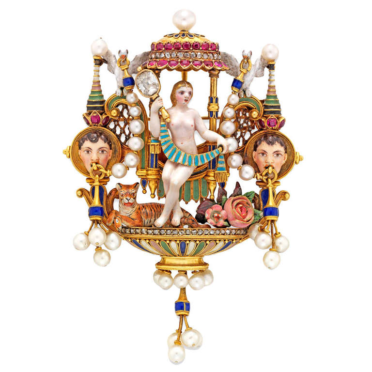 Carlo Giuliano Renaissance-Revival Enamel Diamond Ruby Pearl Gold Brooch
