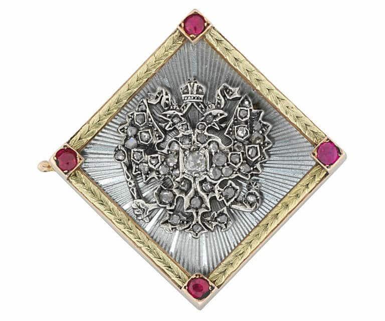 Faberge Enamel Ruby Diamond Gold Brooch