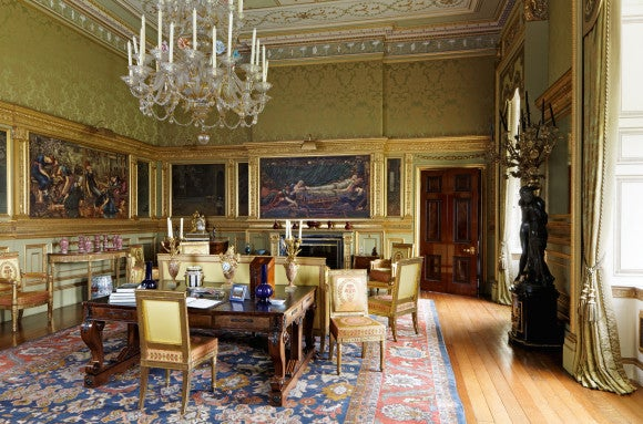 At Buscot Park An 18th Century Neoclassical Style Estate In Oxforshire England Designer Alidad Added Chartreuse Green Silk Damask To Set Off The Salons