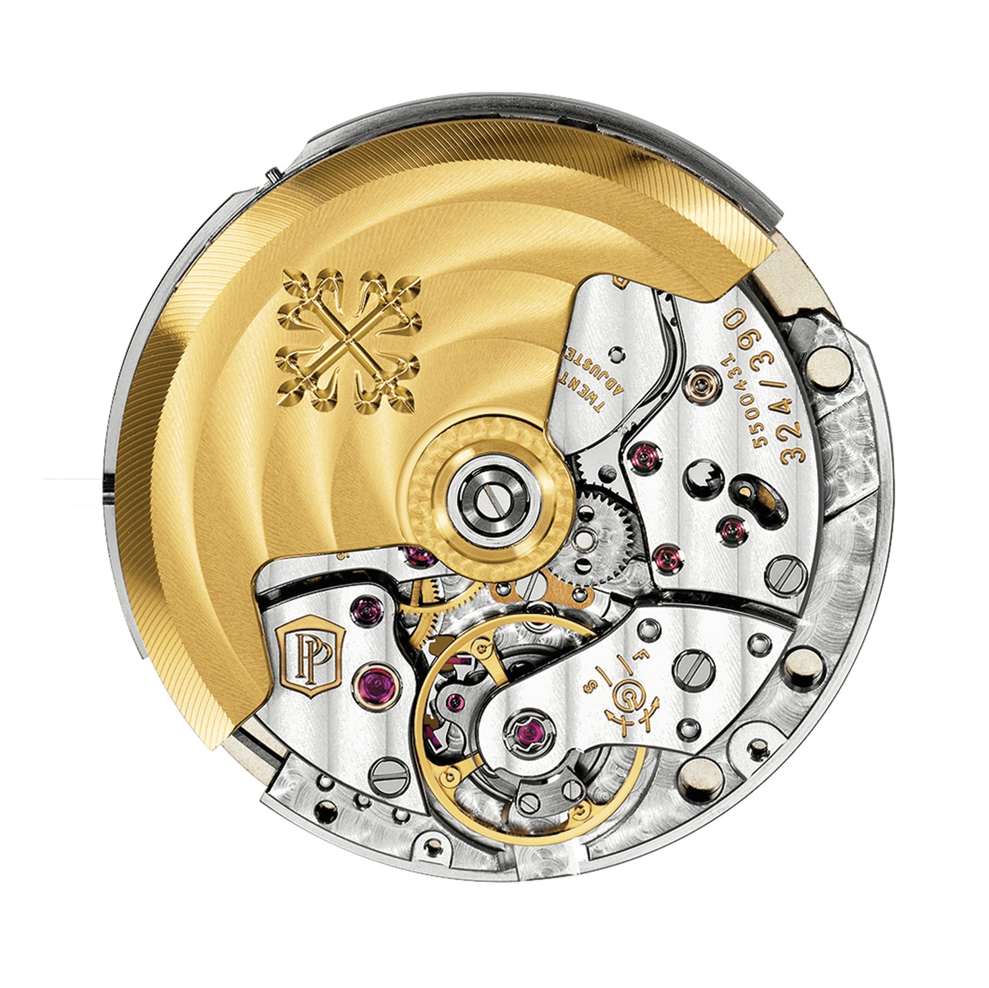 Patek Philippe's Caliber 324 S C is marked with the double P of the Patek Philippe Seal.