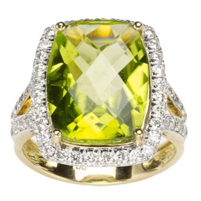 A 7.7-carat, pineapple-cut peridot and diamond cluster ring.