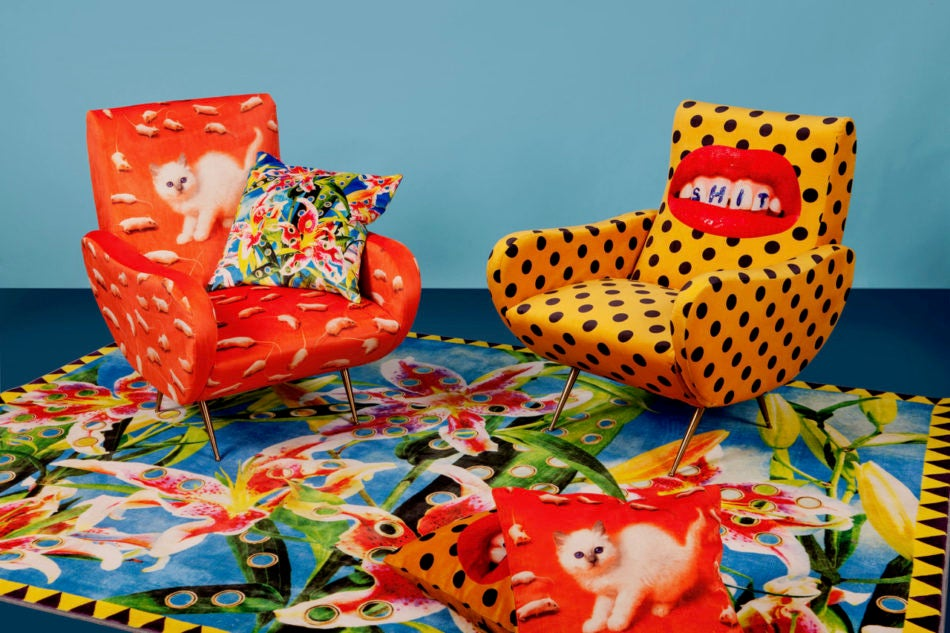 Seletti Wears Toiletpaper armchairs, pillow and rug