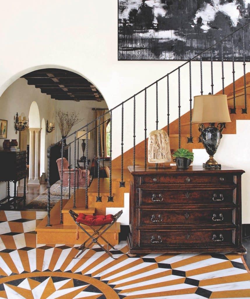 Madeline Stuart designed the intricate marble floor in this Santa Monica, California, home.