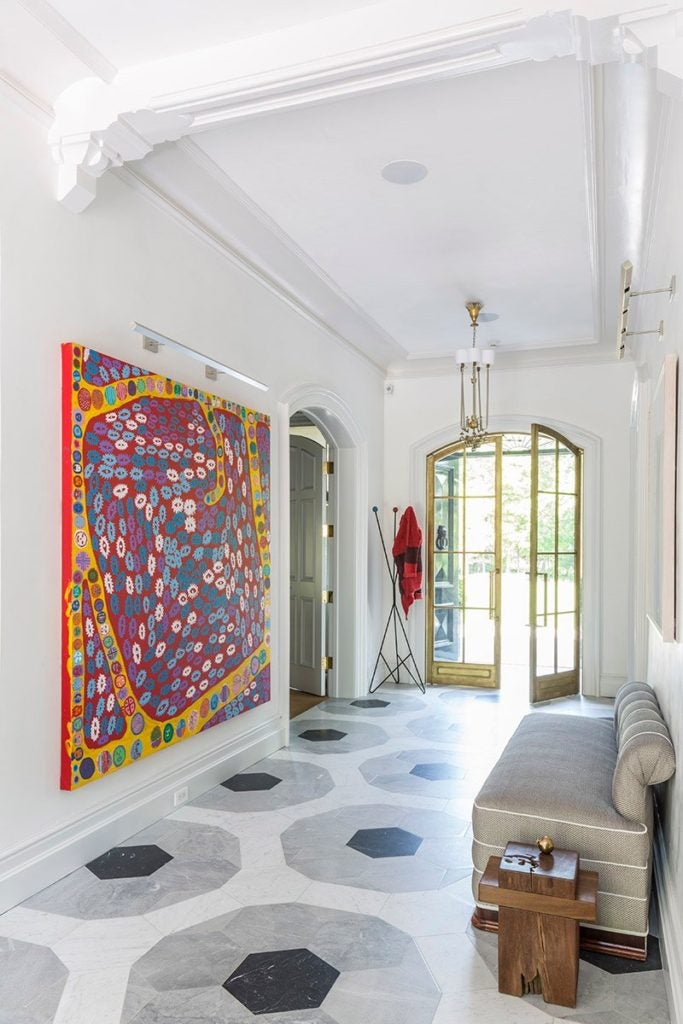 A combination of marbles make up the large-scale design of the gallery floor in this Sara Story–designed Victorian home.