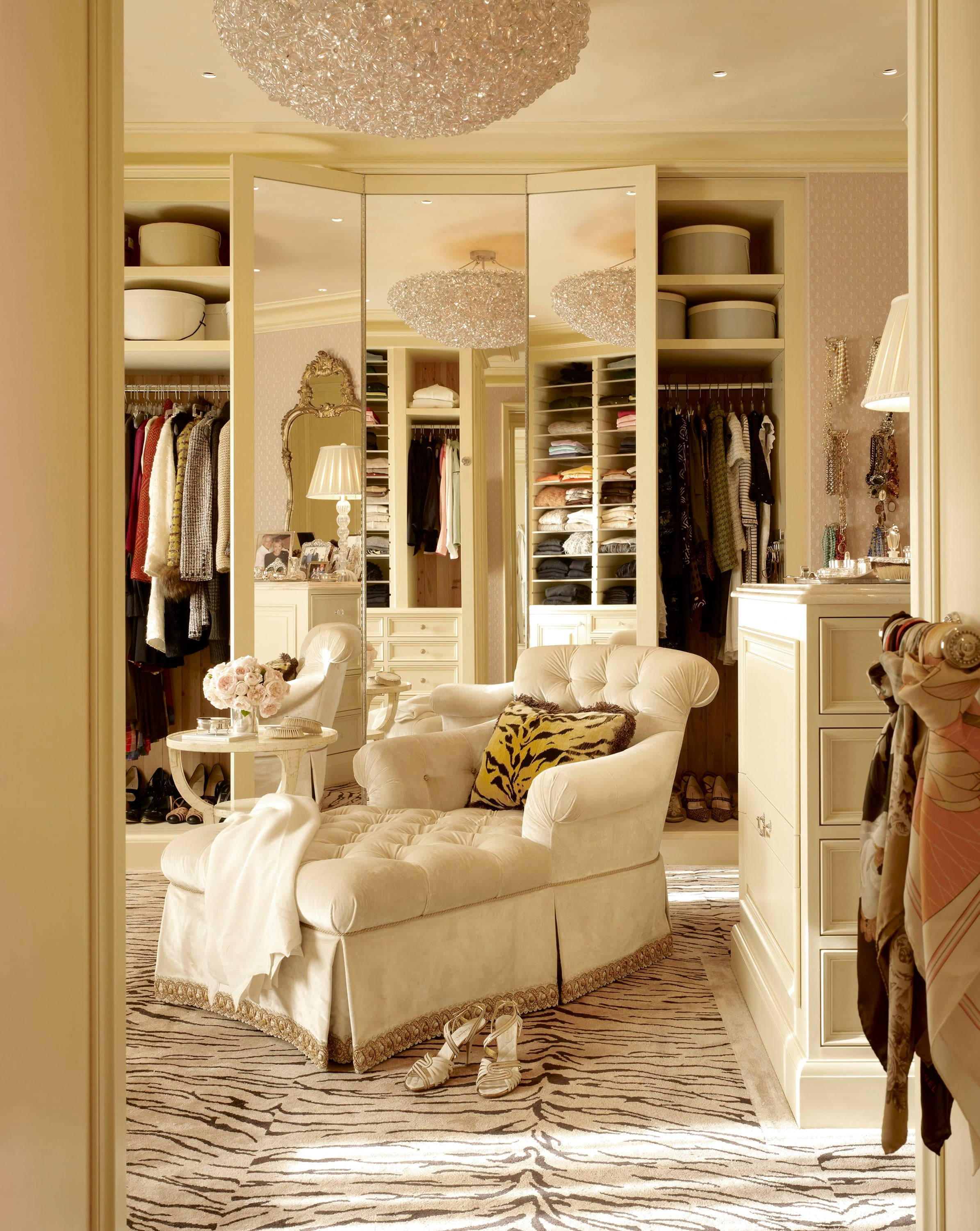 Dressing Room In A 6,000 Square Foot Apartment With A Traditional Decor.