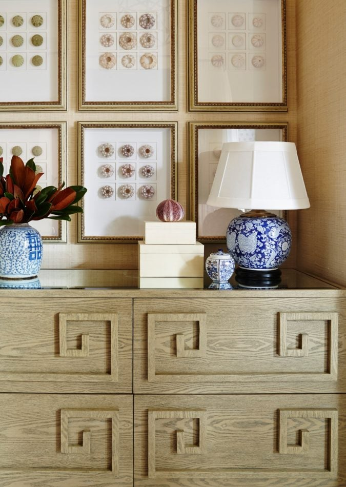 greek key furniture in bedroom by Summer Thornton