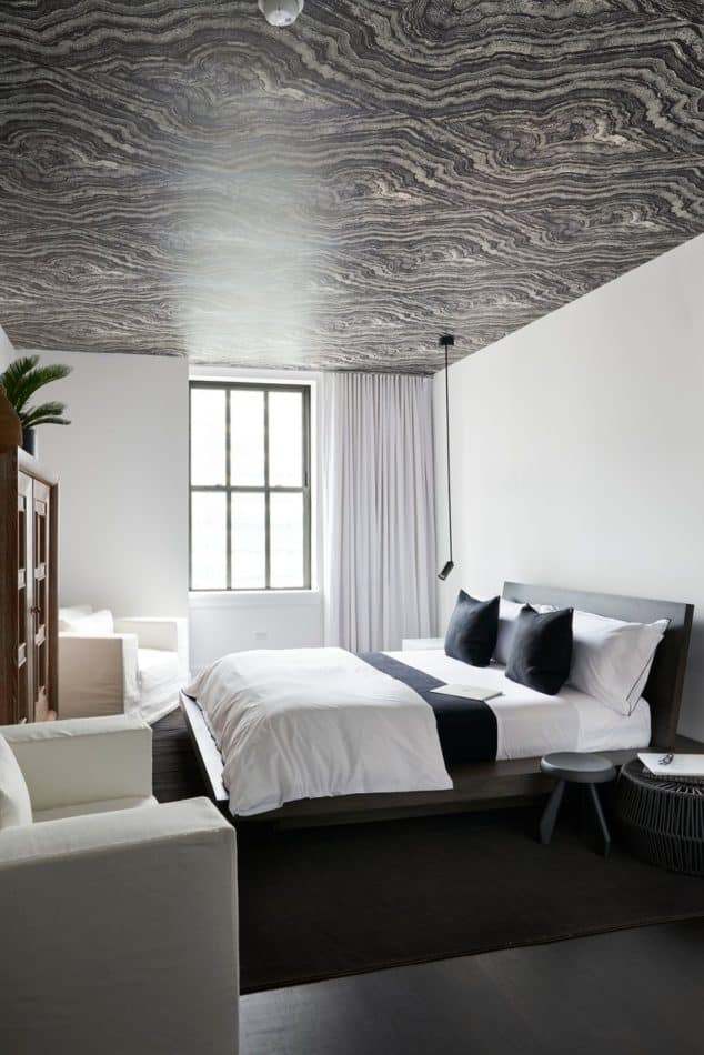 Black And White Wallpapered Bedroom Ceiling By Timothy Bold