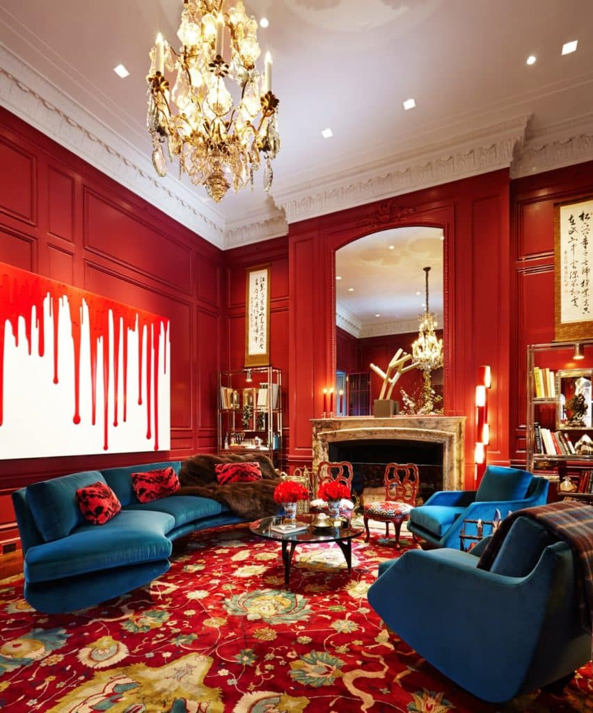 red living room by William T. Georgis