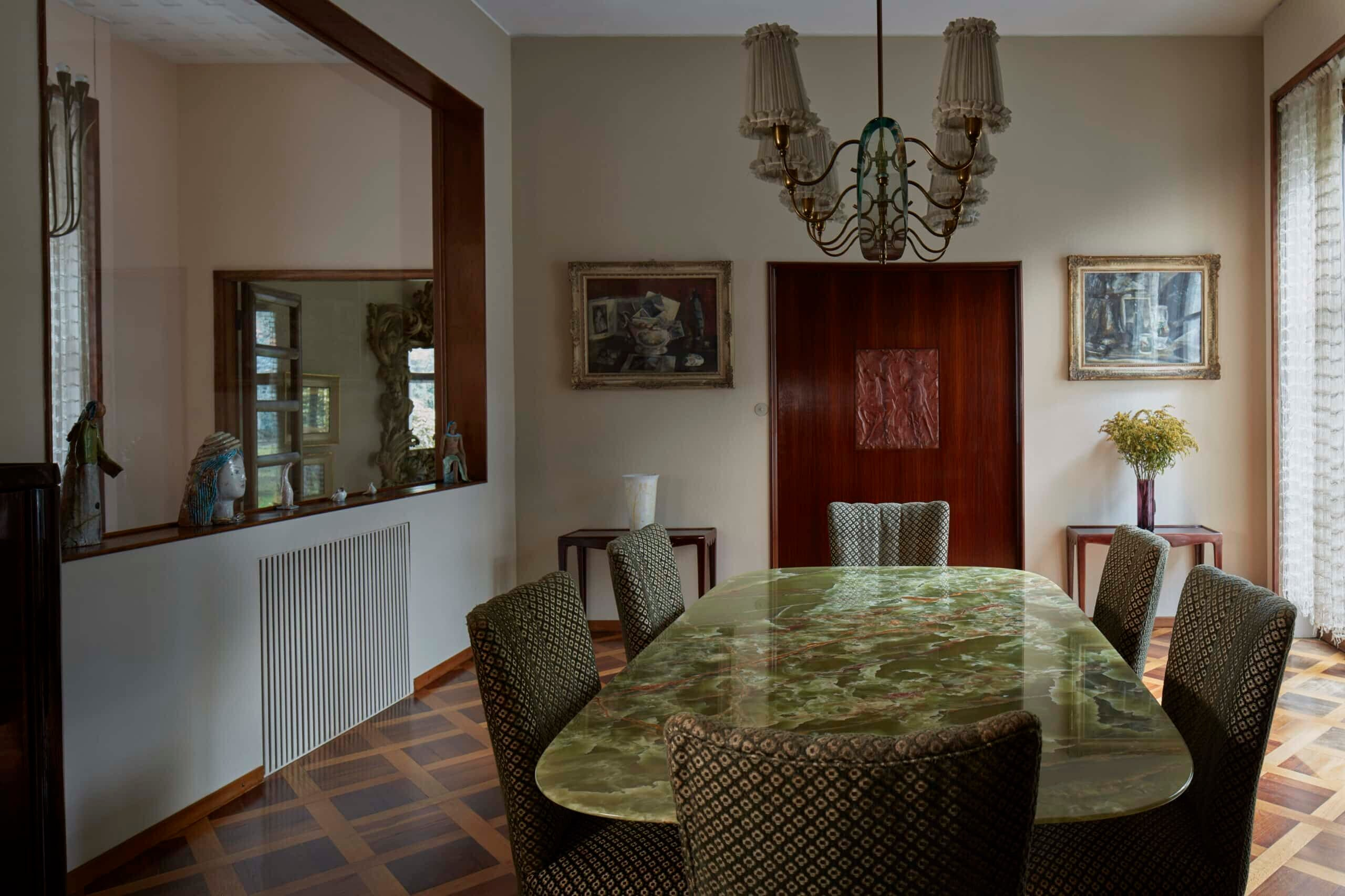 The dining room of Villa Borsani