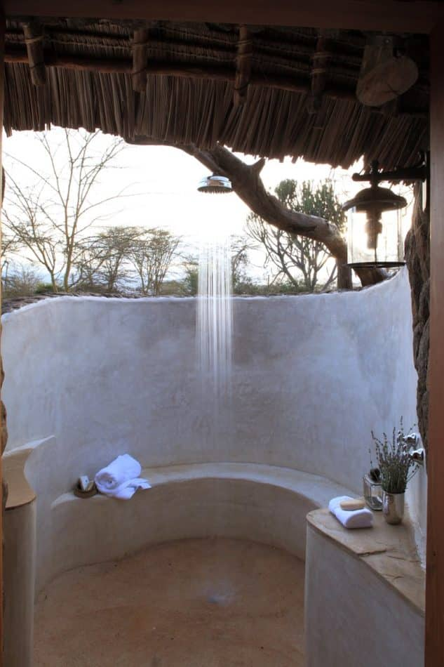 Organic outdoor shower in Kenya by Suzanne Kasler