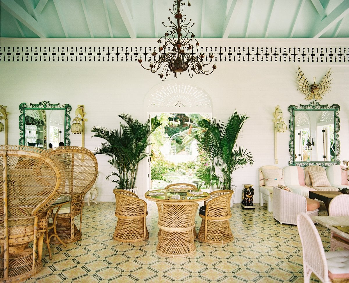 The lobby and reception area of the Dominican Republic's Playa Grande Beach Club, designed by Celerie Kemble of Kemble Interiors