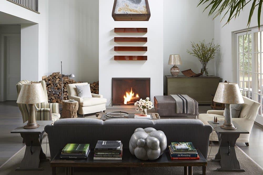 living room fireplace by Huniford Design Studio