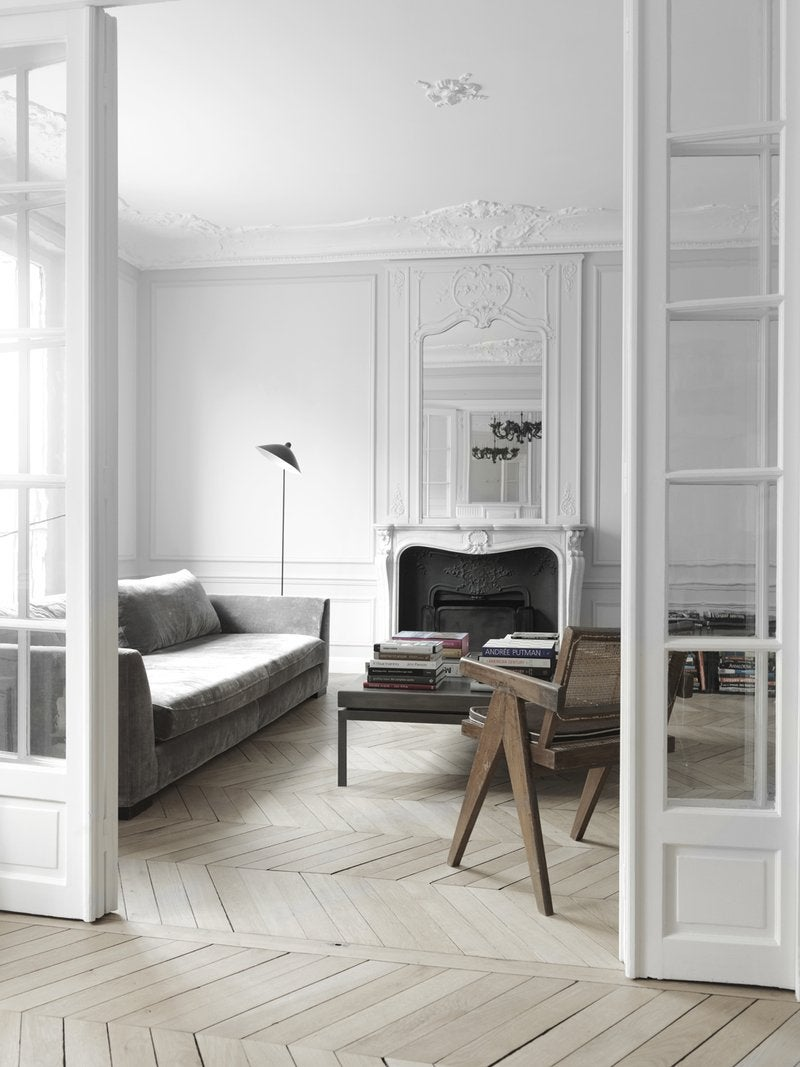 Study Room Door: Fireplaces, Parquet, Arches, French Doors: Traditional