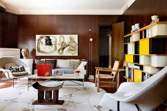 Suduca Mrillou Updated This 1920 Apartment In Toulouse France With Mahogany Walls And Furniture By Iconic Mid Century Designers Like A Bookcase