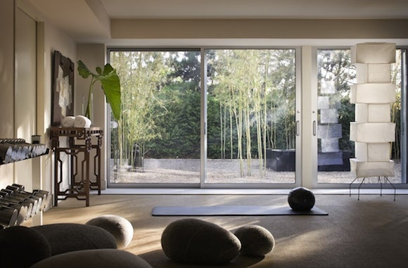 Thad Hayes Designed This Gym For A Japanese American Familyu0027s Beach Home In  Watermill, New York. The Lower Level Yoga And Fitness Room Overlook The  Clientsu0027 ...