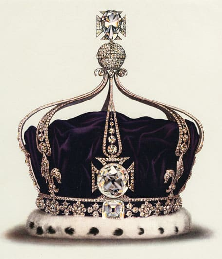 The Koh-i-Noor Diamond, as depicted in a lithograph of Queen Elizabeth's crown.