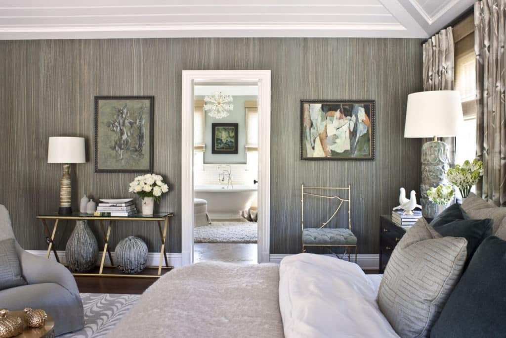 A bedroom in this Pacific Palisades  California  home by Jeff Andrews  features a brass console from Lawson Fenning and an A  Rudin side chair   The 1950s. 22 Dreamy Gray Bedrooms   The Study