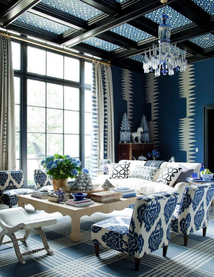 blue and white living room by Kirsten Kelli