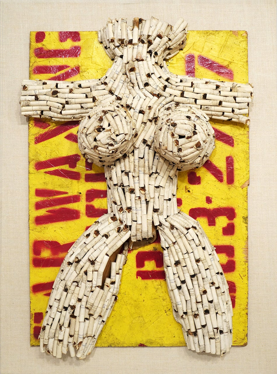 A founder of the Fluxus art movement, Al Hansen crafted his Untitled (Street Butt Venus), 1985, from the discarded ends of used cigarettes.