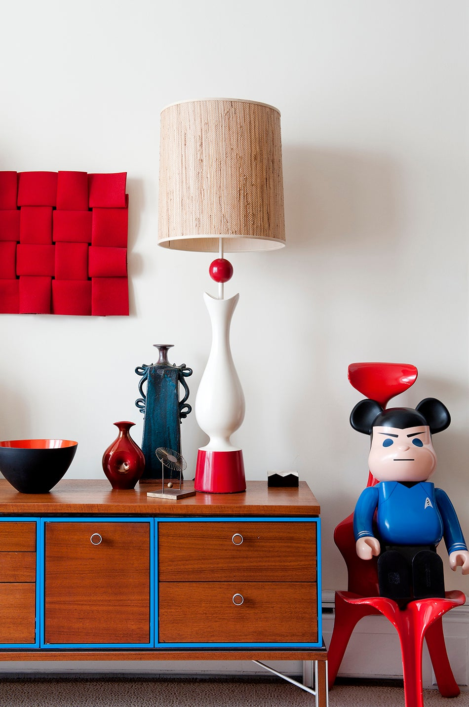 Zoubok recently started collecting vintage design for his home, including a 1940s French lamp from Kerson Gallery and a red chair from Johnson Trading Gallery, both 1stdibs dealers. Photo by Emily Andrews