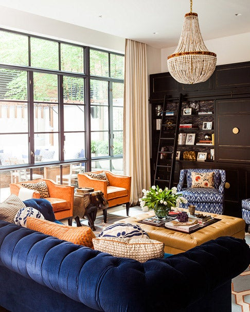 """My client loves blue and orange, and I wanted to find a way to indulge this without letting the large space feel like it was overwhelmed with color,"" the interior designer says of a bright yet elegant home she designed in New York's Tribeca in 2013."