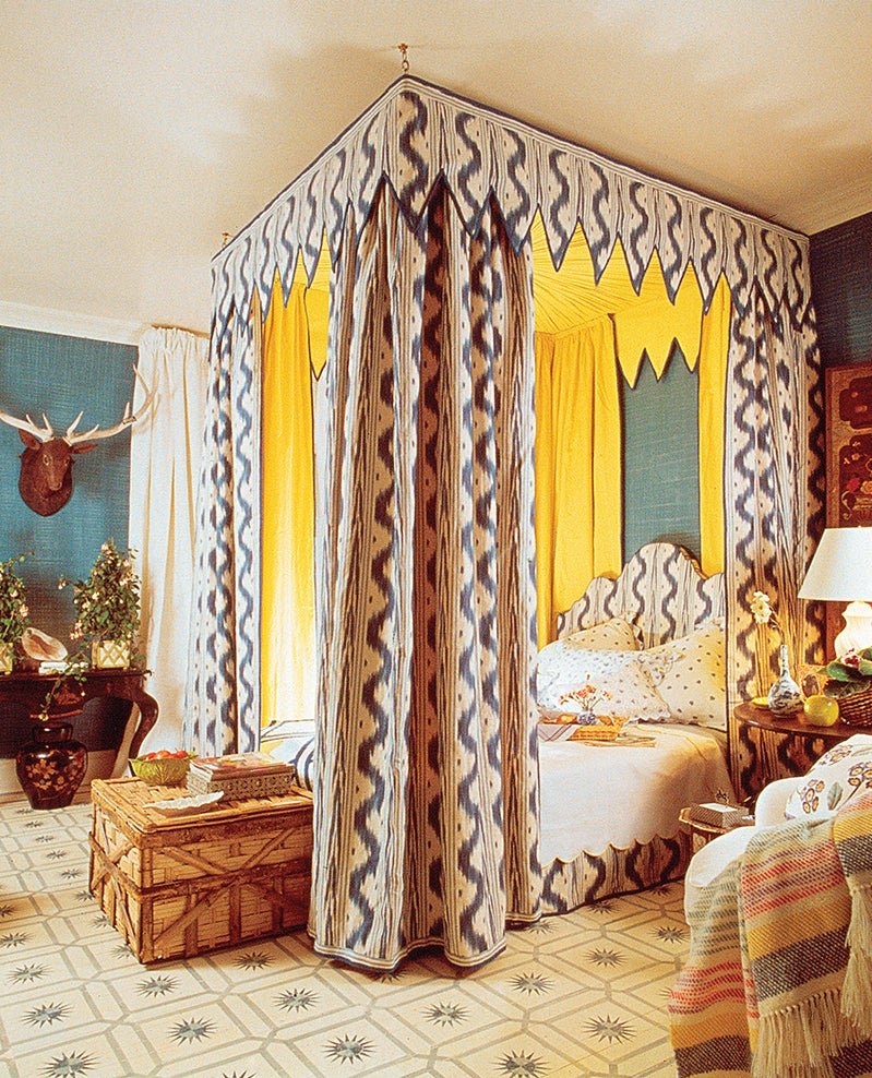 The image Buatta chose for the monograph's cover eschews chintz in favor of more-graphic patterns in white, blue and yellow, one of the designer's favorite palettes. Photo by Ernst Beadle/House & Garden © Condé Nast Publications