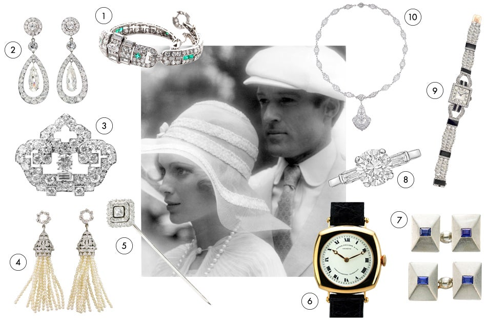 With the emerald-green light of East Egg always beckoning in the distance, Mia Farrow and Robert Redford play out F. Scott Fitzgerald's romantic but tragic modern-American myth. The Jazz Age mise-en-scène calls to mind these stunning Art Deco settings of practically priceless diamonds and other precious stones.1. Cartier bracelet of emeralds, diamonds and platinum, ca. 1920s, offered by Frank Giganti 2. Cartier diamond-and-platinum dangle earrings, ca. 1900, offered by Peter Suchy Jewelers 3. Cartier diamond-and-platinum pendant pin brooch, offered by Fortrove 4. Diamond-and-pearl tassel earrings, offered by Shreve, Crump & Lowe 5. Cartier diamond pin, 1915, offered by FD 6. Cartier diamond-and-platinum necklace, ca. 1929, offered by Lang Antique & Estate Jewelry 7. Cartier women's watch in platinum, diamonds and onyx, ca. 1920s, offered by Betteridge 8. Cartier 1.02-carat round brilliant-cut diamond-and-platinum engagement ring, offered by Betteridge 9. Cartier sapphire-and-platinum cufflinks, 1930s, offered by FD 10. Patek Philippe rose-gold wristwatch, ca. 1920s, offered by Matthew Bain Inc.