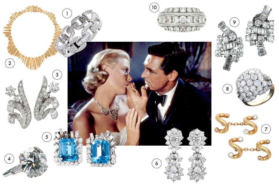 Even before she became Princess of Monaco, Hollywood royal Grace Kelly haunted the French Riviera of the mid-1950s, as cat burglar turned thief-catcher Cary Grant finds the person who stole her mother's jewelry — and steals her heart in the process. Do the same by making a gift of some of these utterly romantic diamonds.1. Cartier diamond-and-gold undulating-fringe necklace, 1950s, offered by Fred Leighton 2. Round- and baguette-cut diamond bracelet, 1950s, offered by Fourtané 3. Boucheron diamond-and-platinum ear clips, 1940s, offered by FD 4. Harry Winston 9.31-carat diamond-and-platinum ring, offered by J. Birnbach 5. Earrings of aquamarine, diamonds and platinum, 1950s, offered by Fourtané 6. Van Cleef & Arpels diamond ring, ca. 1950s, offered by Berganza 7. Boucheron diamond-and-platinum ear clips, 1950s, offered by Lang Antiques 8. Boucheron bombé ring in diamonds, platinum and gold, ca. 1950s, offered by Macklowe Gallery 9. Van Cleef & Arpels gold-and-diamond cuff links, 1950, offered by Foundwell 10. Fancy-shaped diamond-cluster drop earrings, 1950s, offered by Fourtané