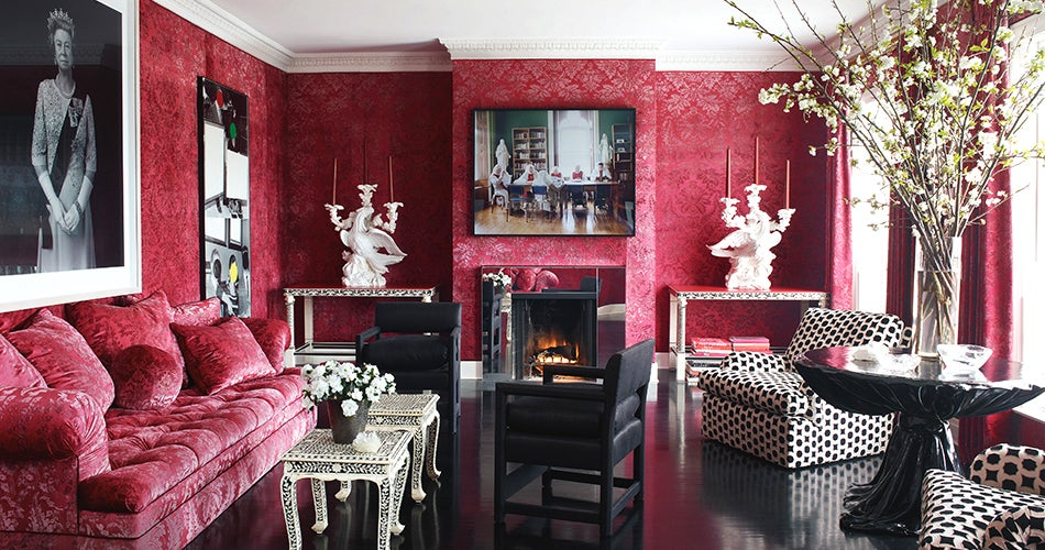 ravishing wall color for red furniture.  San Francisco house of Alexis and Trevor Traina New York based interior designer Britt used a ravishing red damask on both the walls couch Attractive Opposites Color vs Neutral