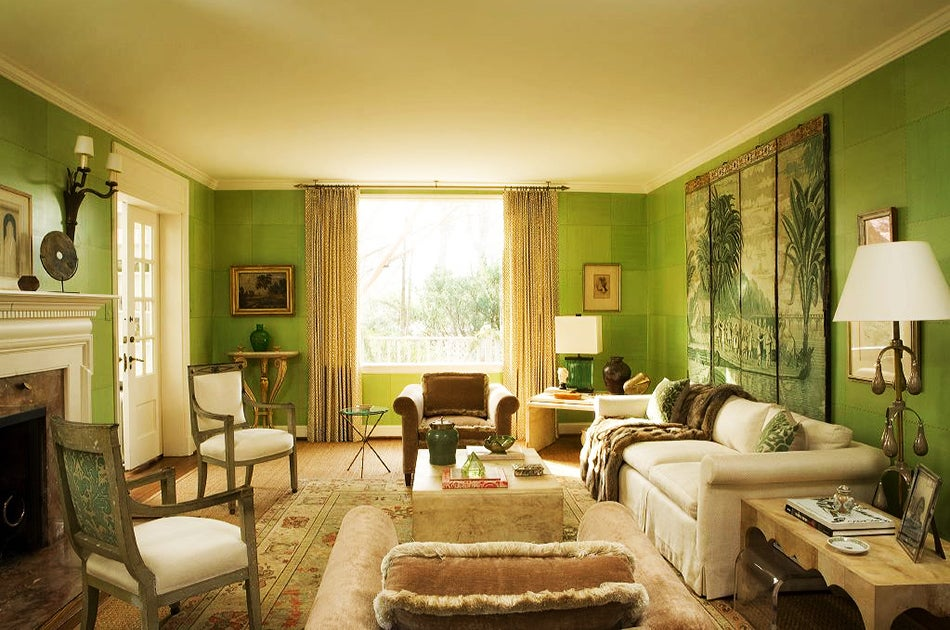 At A Residence In The Palisades Neighborhood Of DC Leather Paneled Walls Complement Fortuny