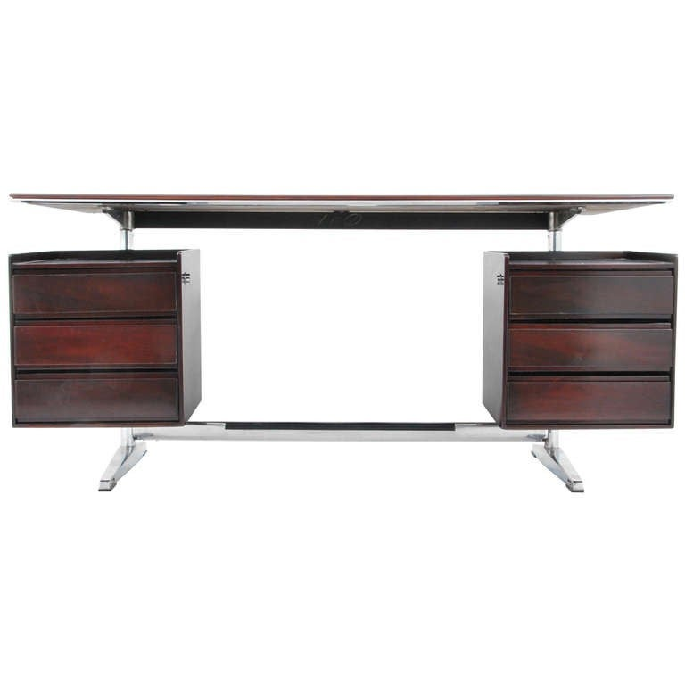 Alberto Rosselli rosewood desk, ca. 1960, offered by Objects 20C