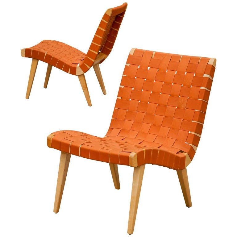Jens Risom Pair Of Webbed Lounge Chairs