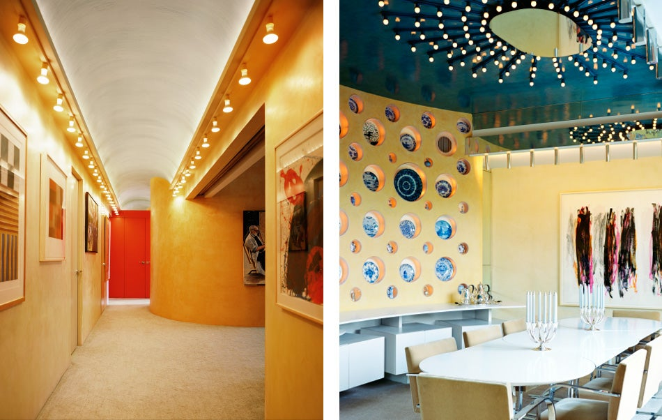 Left: Rudolph obliterated all vestiges of the original pre-war layout. Here a formerly dark, narrow hallway opens up, on right, to a playroom carved out of a series of small maid's bedrooms. Right: The curved wall of the dining room sports lighted niches that displayed the family's collection of Delft pottery.