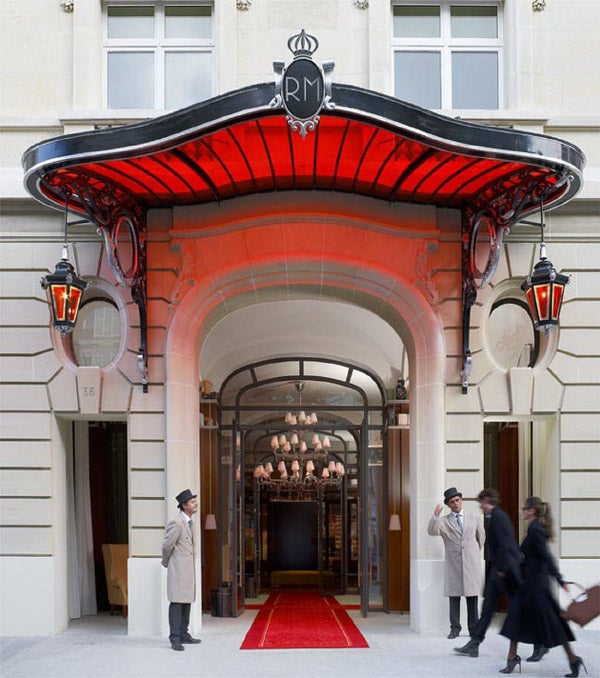 The entrance to Starck's latest Paris project: the Hotel Le Royal Monceau, which some are calling his best work to date.