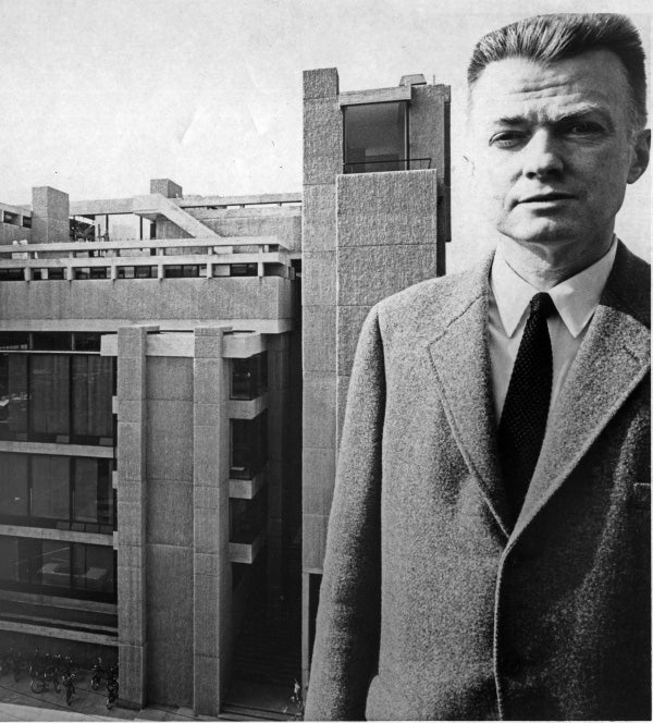 The architect, then the chair of Yale's School of  Architecture, posed across from his A&A building, which made the cover of every major design magazine when it was completed in 1963. Photo courtesy of Yale University