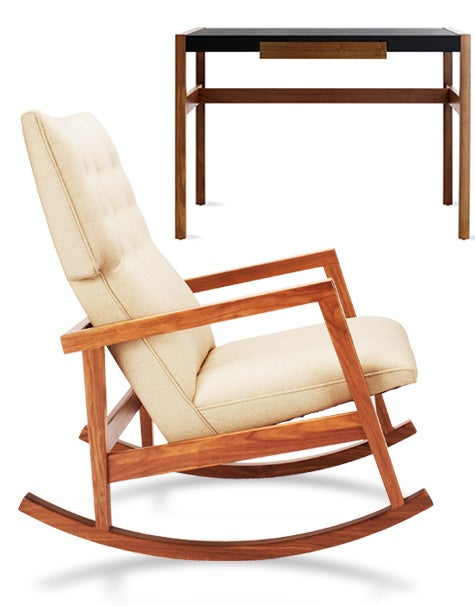 """Risom has continued to design well into his 90s; his most recent creations, both done exclusively for Design Within Reach, include a modernized rocking chair (2009) and a small desk, which came out last month. Of the desk he told DWR: """"It's a handsome piece of decoration at which you sit, at which you study, at which you read books...if people do that any more."""" Photos courtesy of Design Within Reach"""