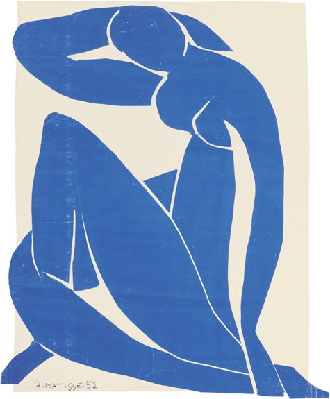 One of the most recognizable works in the show, Blue Nude II, 1952, stands out for its use of just one color.