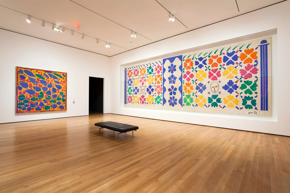 The works dazzle with their colors, shapes and, in the case of Large Decoration with Masks, 1953, at right, their enormous scale. Photo by Jonathan Muzikar © 2014/MoMA