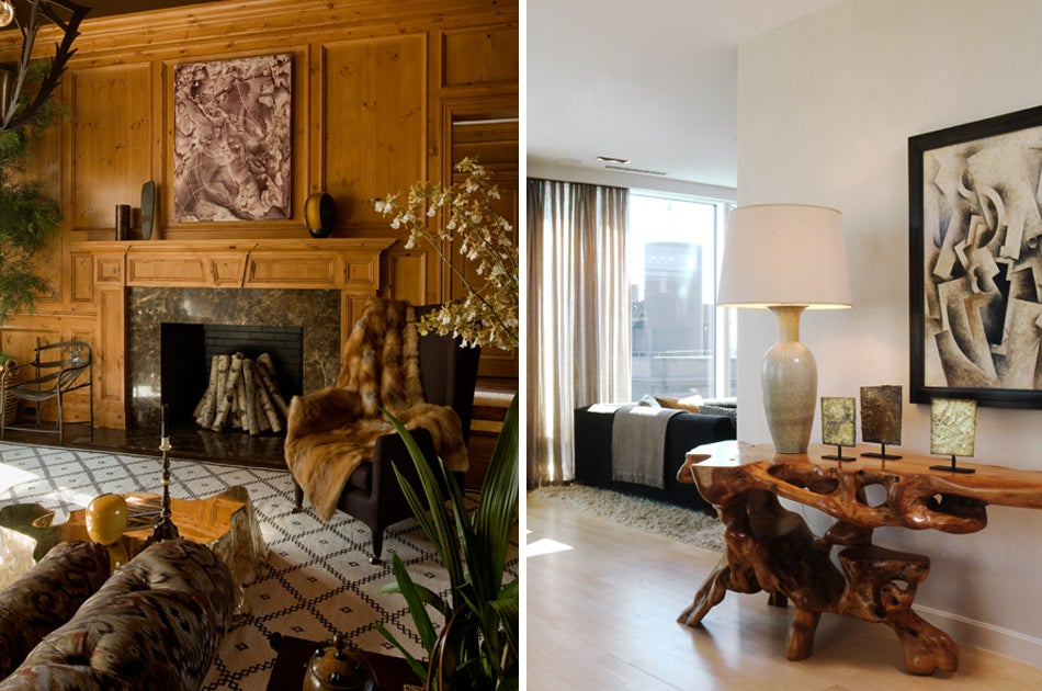 Left: The designer's head-turning room at 2009's Hampton Designer Showhouse juxtaposed traditional wood paneling and a marble fireplace surround with such contemporary pieces as a Hervé van der Straeten chandelier from Maison Gerard. Photo by Nick Johnson Right: In a private residence, an organic root console table holds an urn-like lamp by Gunar Nylund for Rorstrand (from 1stdibs dealer Hostler Burrows); an untitled painting by Robert Marc hangs above. Photo by John Hall
