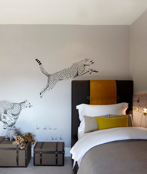 Barratt-Campbell endowed this children's room in Yorkshire with fun flourishes while maintaining a grown-up color palette.
