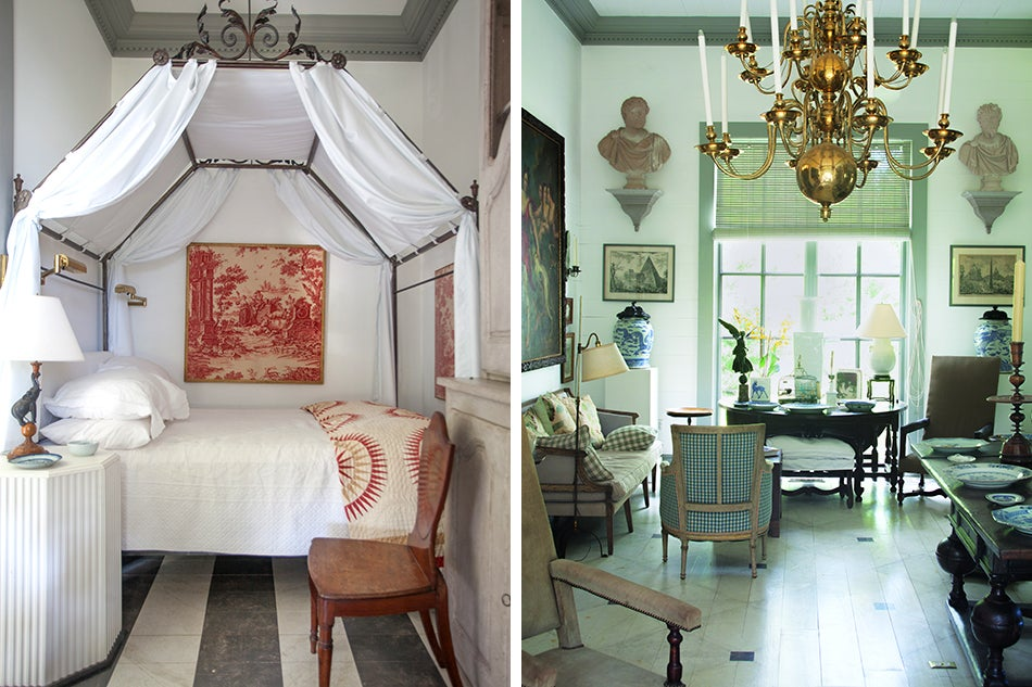Left Framed Pieces Of Vintage Toile Decorate The Walls A Small Bedroom Bed And Table Are From John Rosi Right In Front Room