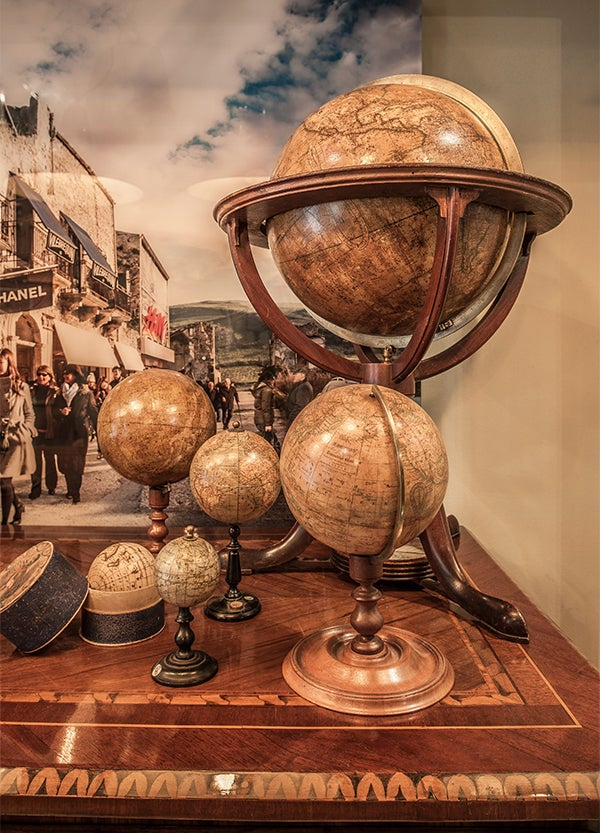 Whether miniature or massive, antique globes from the 18th and 19th centuries have become a particular focus of the gallery.
