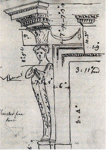 A circa 1756 sketch by the architect William Chambers of the chimneypieces at Wanstead House, where Kent designed some of the interiors.