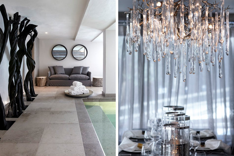 Left: One of Barratt-Campbell's first commissions was a ski chalet in Verbier, Switzerland, for Richard Branson, whose pool area she outfitted with twisted wood sculptures and a bespoke sofa. Right: A bespoke glass-and-silvered-metal chandelier in Verbier mimics the icicles hanging outside.