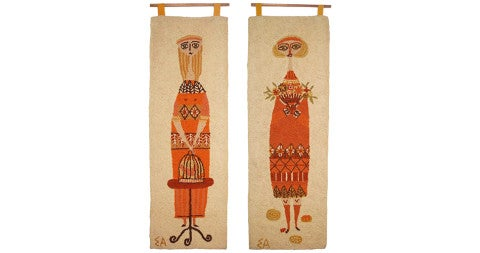 Hand-hooked wool tapestries, ca. 1959, offered by Birdie