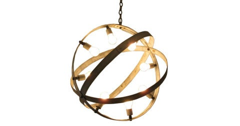 Metal armillary chandelier, 20th century, offered by Outside Downtown